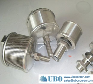 Wire wrapped screen water filter nozzle for industrial water filter